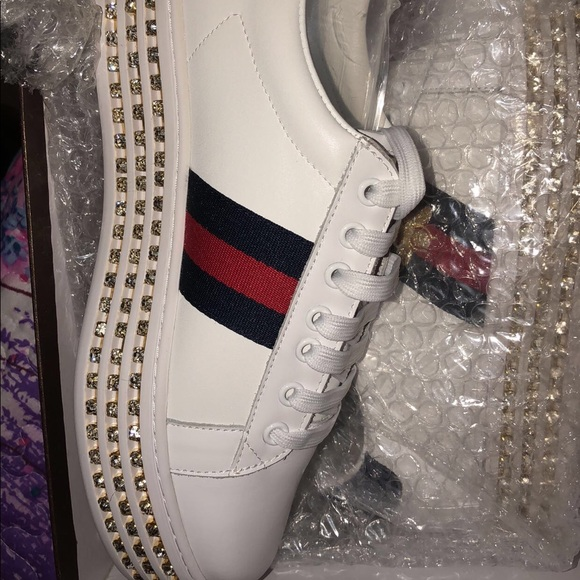 4d441e2caec2 Gucci Shoes - Gucci White Crystal New Ace Platform Sneakers